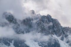 Misty mountain scene in Dolomites mountain Stock Image