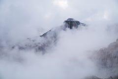 Misty mountain scene in Dolomites mountain Stock Photo