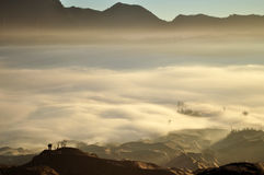A Misty Mountain. The scenery you may find in the top of Bromo Mountain when the sun is started to shine. Bromo is one of popular mountain in Indonesia that Stock Image