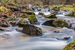 Misty Mountain stream. Autumn Smoky Mountain stream long exposure silky water Stock Image