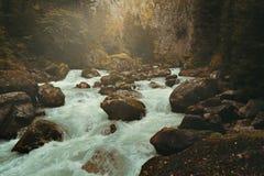 Misty mountain stream Stock Photo