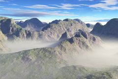 Misty Mountain Valleys. Digital render of a mountain scene with mist lying in the valleys vector illustration