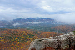 Misty Mountain. A view from the Welch-Dickey hiking trail in the White Mountains of New Hampshire on a misty day in Fall Stock Images
