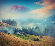 Misty mountain village Royalty Free Stock Image