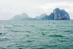 Misty mountains at Andaman Sea Royalty Free Stock Photos