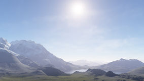 Misty mountains and the first snow. 3d generated landscape: Misty mountains and the first snow Royalty Free Stock Image