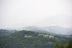 Misty mountains in France. Region Midi Pyrenees. Royalty Free Stock Photo