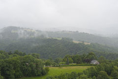 Misty mountains in France. Region Midi Pyrenees. Royalty Free Stock Photos