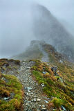 Misty mountains and hiking trail. Alpine landscape with hiking trail going on the mountain in the mist Stock Image