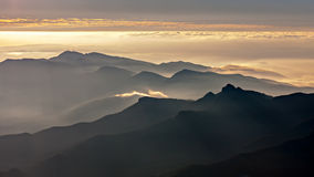 Misty mountains landscape Stock Photography