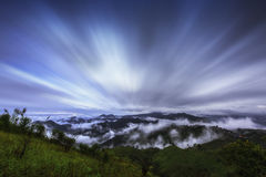 Misty mountains landscape view Royalty Free Stock Images