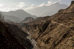 Misty mountains. Morning in Himalayas, Lower Mustang. Nepal, Annapurna Conservation Area stock image
