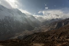 Misty mountains. Morning in Himalayas. Marsyangdi river valley, Nepal, Annapurna conservation area. Mauntain landscape stock photography