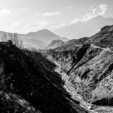 Misty mountains. Morning in Himalayas, Nepal, Annapurna conservation area. Black and white image stock photography