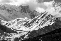 Misty mountains. Morning in Himalayas, Nepal, Annapurna conservation area. Black and white image stock images