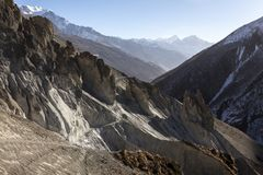 Misty mountains. Morning in Himalayas, Nepal, Annapurna conservation area. Mountain landscape stock images