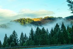 Misty Mountains - View from highway of distant mountaintop in the sunlight above the fog settled in the valley of Northern stock photography