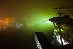Misty Mt Hakodate at Hokkaido, Japan. A misty night on top of Mt Hakodate, looking at Hakodate town night scene, from near the cable car station at Hokkaido Stock Images