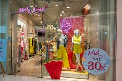 Misty Mynx-winkel in Emquatier, Bangkok, Thailand, 25 April, 2019: Modieus merk van toevallige kleding en toebehoren stock foto