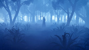 Misty night forest with grim reaper silhouette. Creepy night forest with silhouette of a grim reaper in the distance. Realistic 3D illustration was done from my Stock Photo