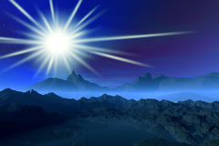 Misty night landscape. Night 3d rendering   graphics misty beautiful landscape with mountains , fog and star Stock Images