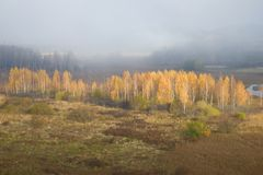 Misty October morning in the Izborsk-Malsky valley. Izborsk, Russia Stock Image