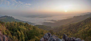 Misty over forest in Thailand Stock Photos
