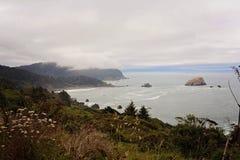 Misty Pacific Northwest Coast Stock Photo