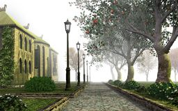 Misty park alley Royalty Free Stock Images