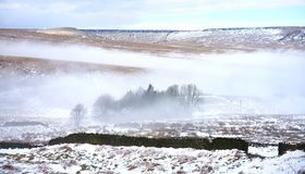 Misty Pennine Moors in Winter Stock Photography