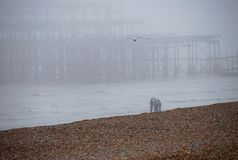 Misty pier Brighton Beach Royalty Free Stock Photography