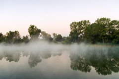 Misty pond reflection Royalty Free Stock Photography