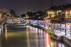Misty Rain gallery and Laifeng bridge at night stock photography