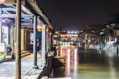 Misty Rain gallery and Yongning bridge at night Stock Photos