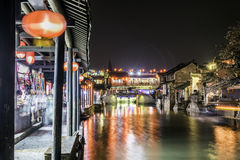 Misty Rain gallery and Yongning bridge at night Royalty Free Stock Photos