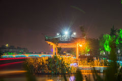 misty rain pavilion at night royalty free stock photography