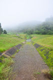 Misty and raining in Morning at A large reservoir in Pang Ung Stock Photos