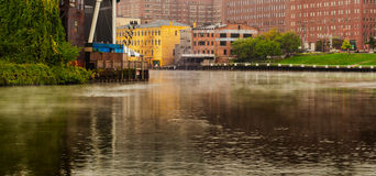 Misty river Cleveland Royalty Free Stock Images
