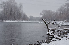 Misty River after a Fresh Snowfall Royalty Free Stock Photos