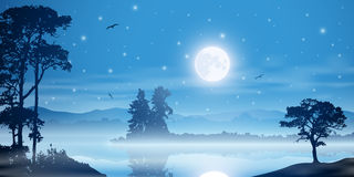 Misty River Landscape. A Misty River Landscape with Moon, Stars and Trees Royalty Free Stock Photography