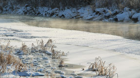 Misty river in winter Stock Images