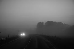 Misty road. stock image