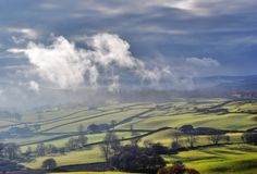 Misty rolling Countryside near Staveley Stock Photos