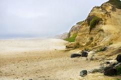 Misty sandy beach along Pacific Ocean cliffs Royalty Free Stock Photo
