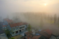 Misty scenic. The countryside was shrouded in fog.   in Jingzhou, Hubei, China Royalty Free Stock Photo