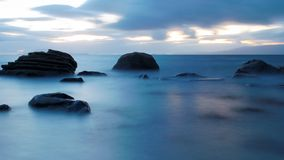 Misty Sea. Evening sea at Westport bay in Ireland, long exposure creates mist royalty free stock photography