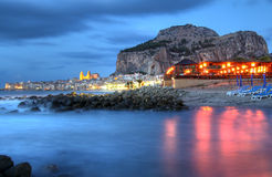 Misty sea effect in Cefalu harbor Royalty Free Stock Photo
