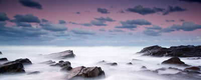 Misty sea and rocks. Long exposure image of the ocean Royalty Free Stock Image