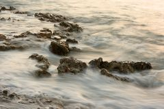 Misty Sea and Rocks Royalty Free Stock Image
