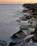 Misty Shoreline of Lake Michigan Stock Photo